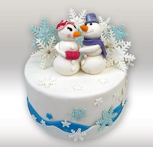 Торт со снеговиками