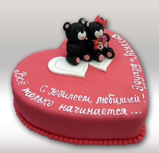 Торт сердечка на юбилей