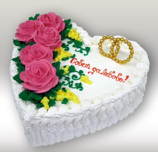 Свадебный торт сердечка