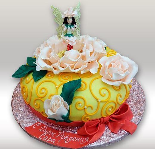 Торт фея в розах