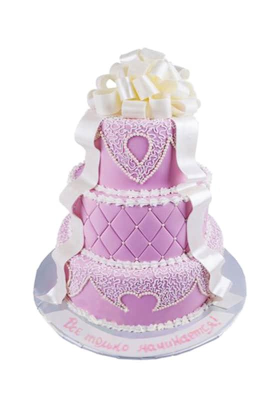 Cвадебный торт Розовый с белым бантом