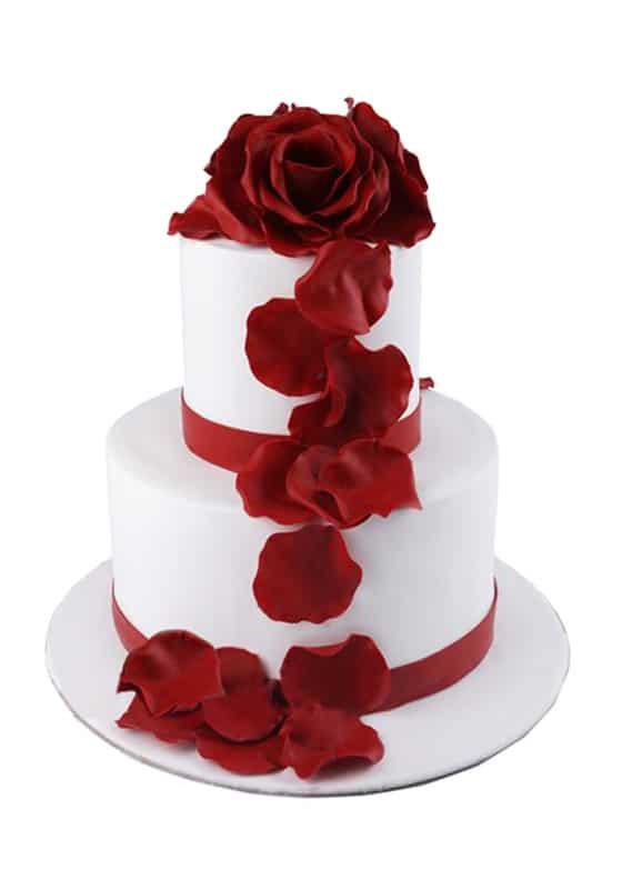 Свадебный белый торт с Красными лентами
