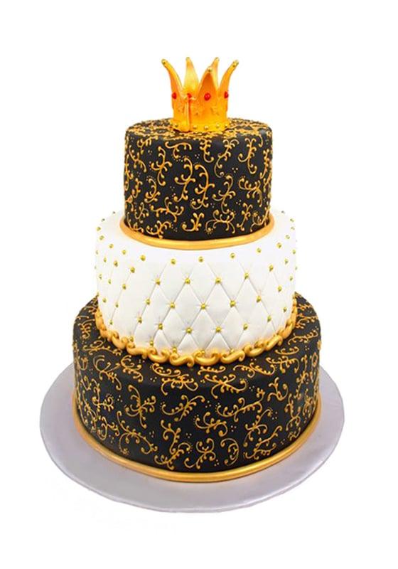 Свадебный росписной торт с Короной