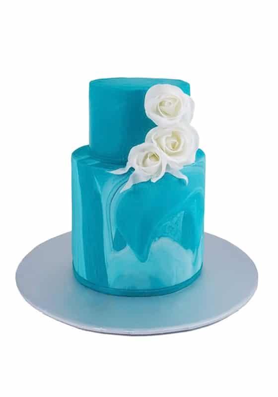 Свадебный торт Бирюзовый с розами