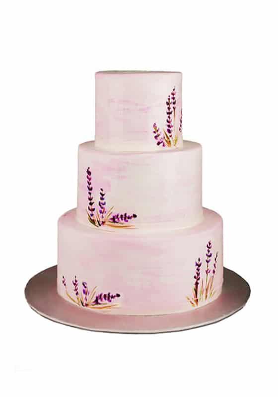 Свадебный торт Рисунками лаванды
