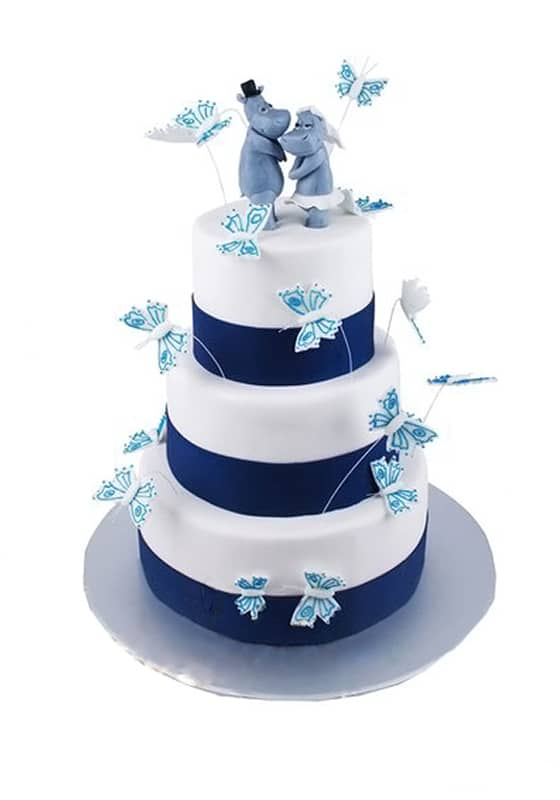Свадебный торт с Бегемотиками и Бабочками