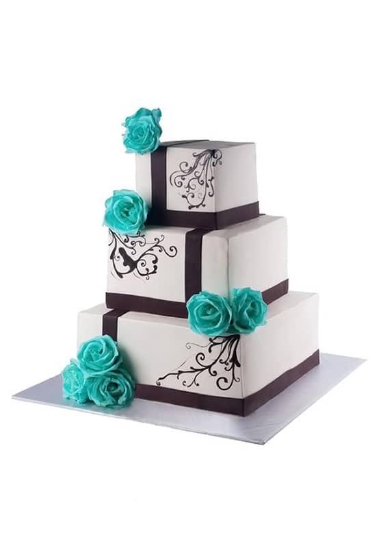 Свадебный торт с Бирюзовыми розами