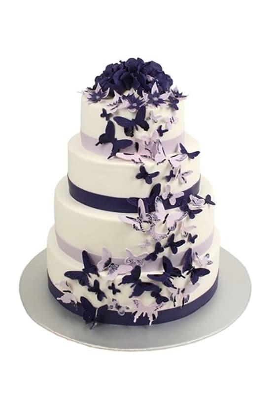 Свадебный торт с Фиолетовыми бабочками