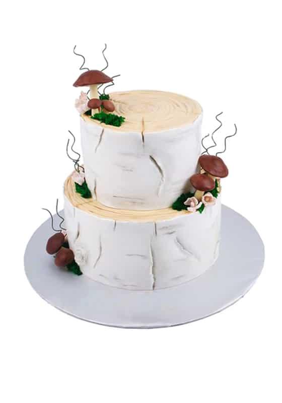 Свадебный торт в виде Пенечков с грибочками