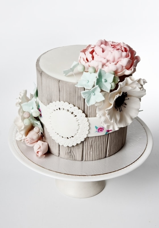 Торт Полено с цветами
