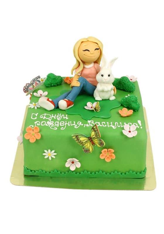 Торт Девочка с кроликом