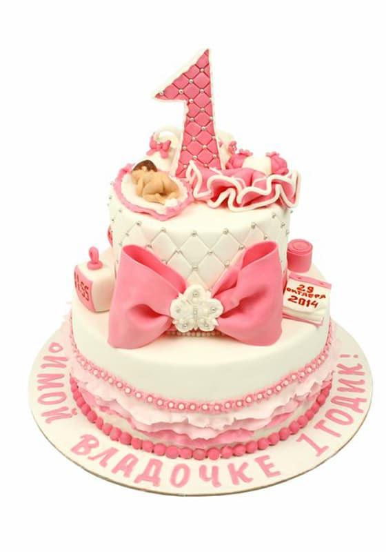 Торт с бантом на 1 годик