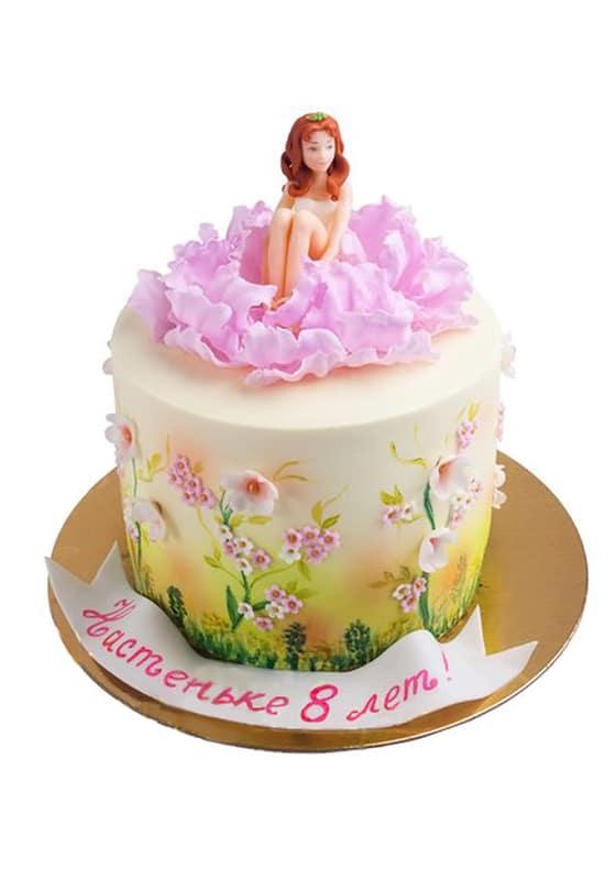 Торт с фигуркой Девочки в цветке