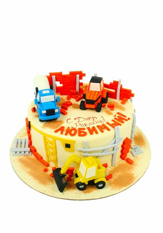 Торт с машинами на Стройке