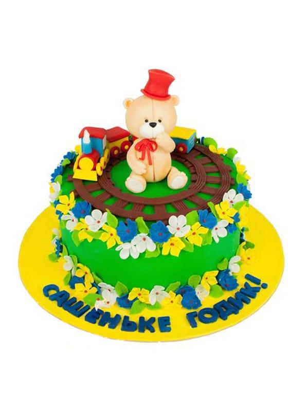 Торт с Мишкой и поездом