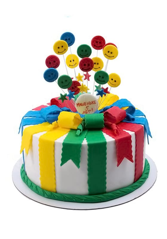Торт с Разноцветными лентами