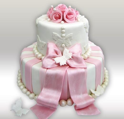 Свадебный торт с розовым бантом