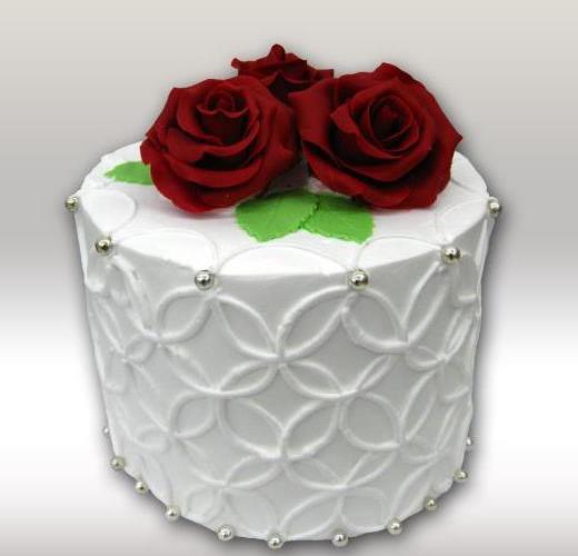 Торт с алой розой