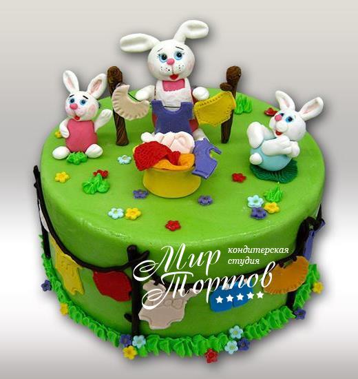 Торт с зайчиками